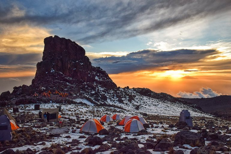 tents at lave tower camp in kilimanjaro