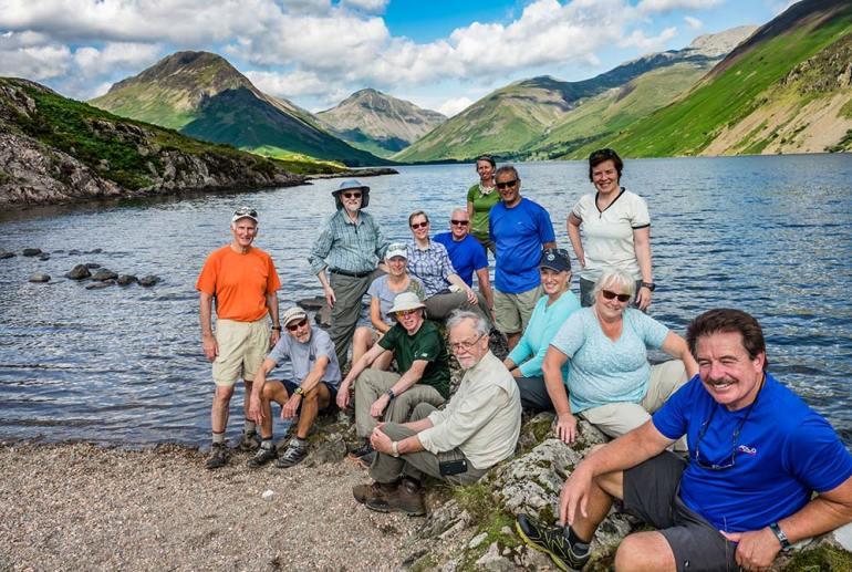 group near lake in England