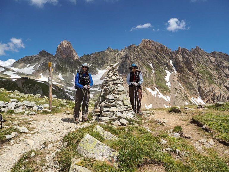 Hikers at col de bresson near Mont Blanc