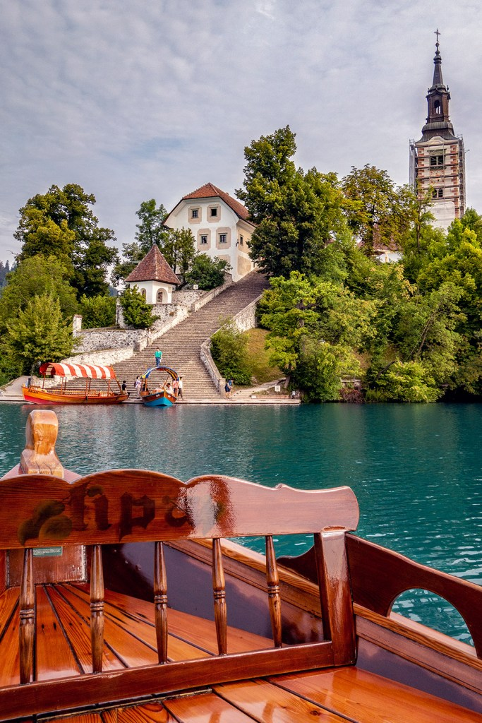 on a boat in Slovenia