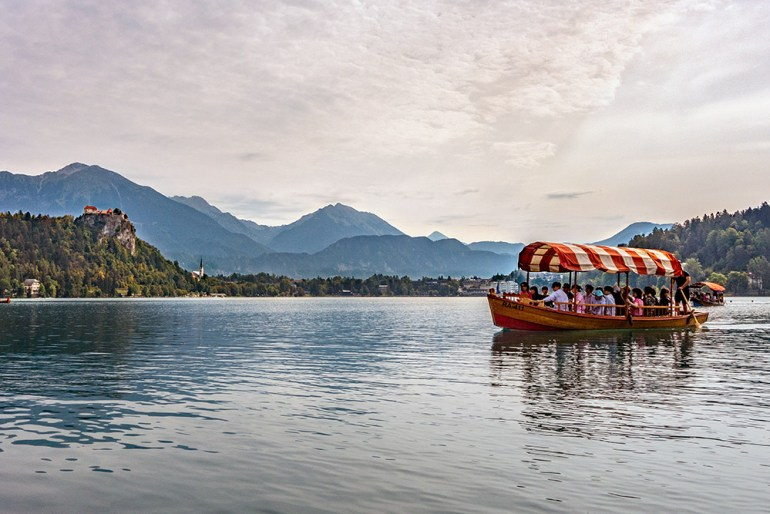 people in a boat in Slovenia