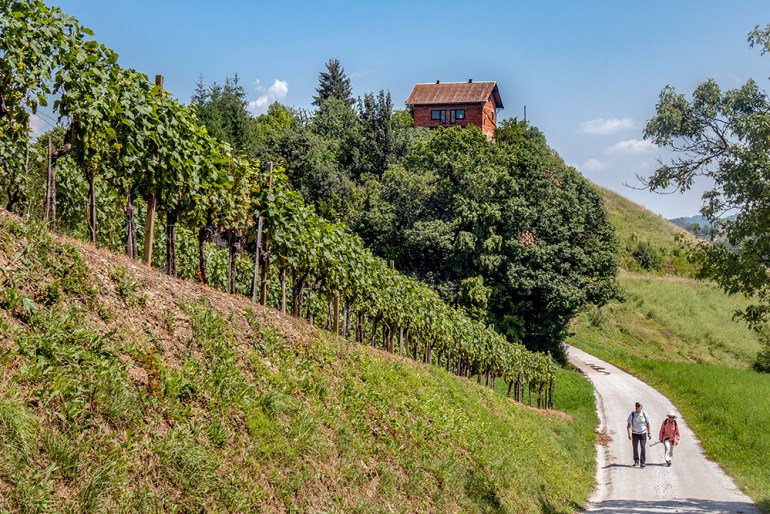Hikers on path in Slovenia