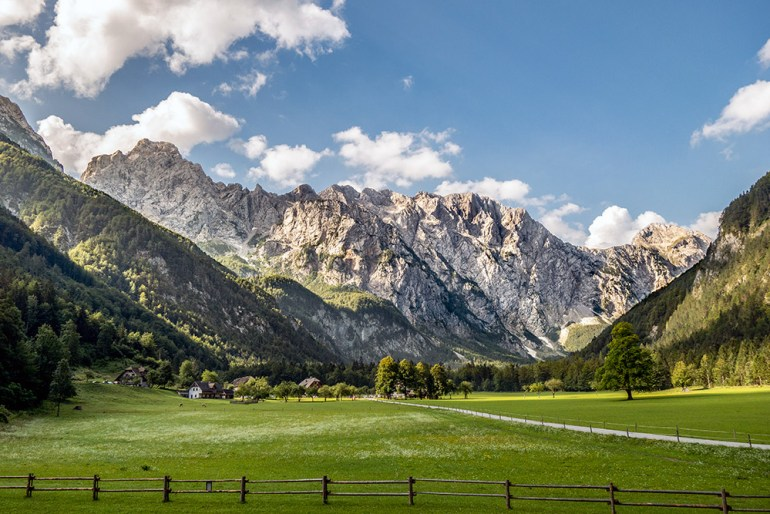 landscape of field and mountain in Slovenia