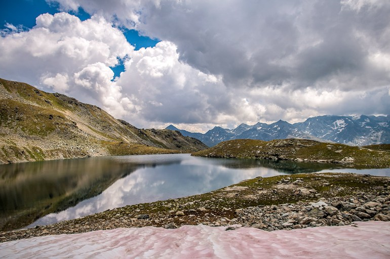 snow and lake on the haute route