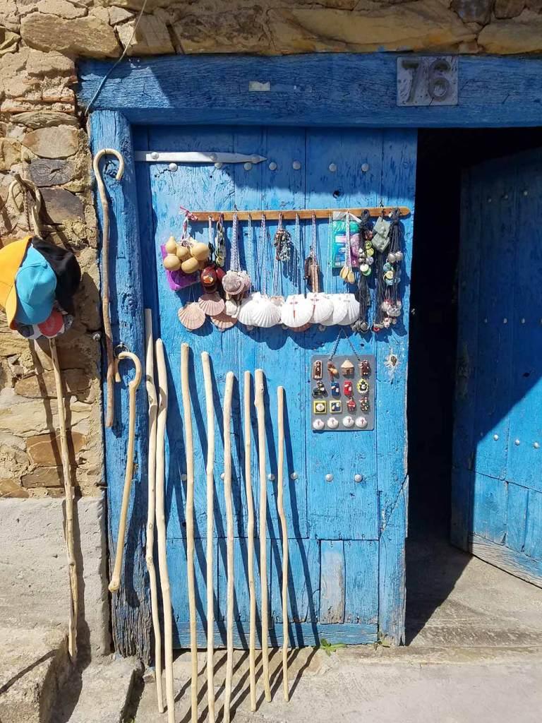blue door in leon camino de santiago pilgrim's way spain