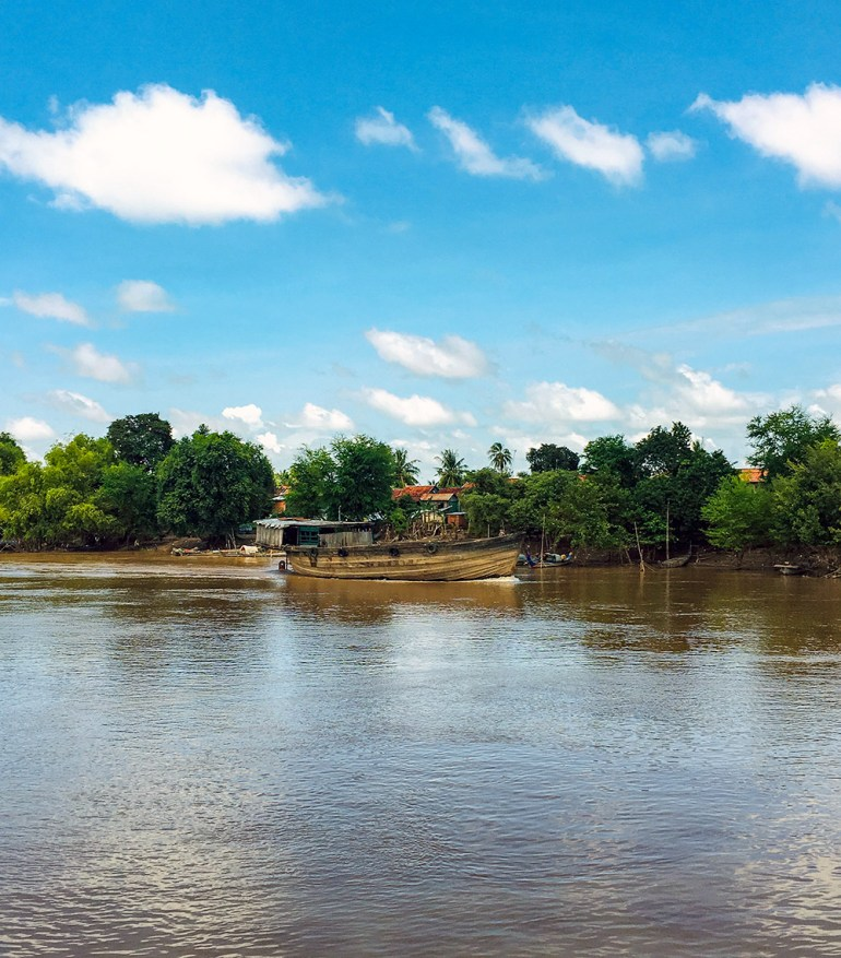 view of boat on mekong in cambodia