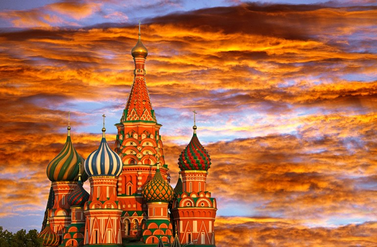 sunset over the red square in russia