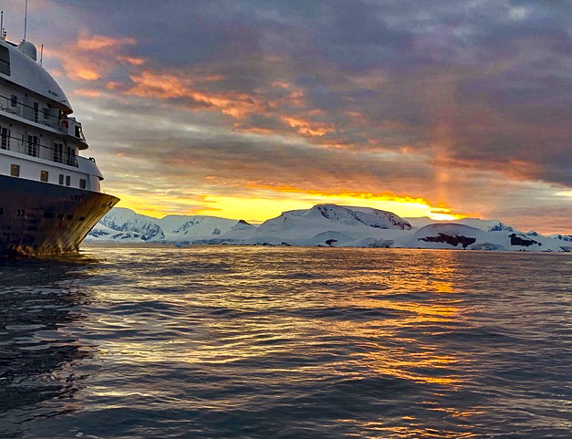 sunset and ship in Antarctica