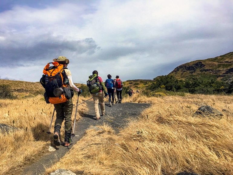 hikers on trail in Patagonia