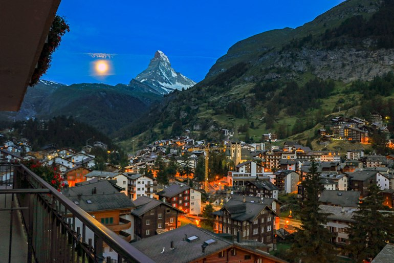 moon and matterhorn in zermatt, switzerland