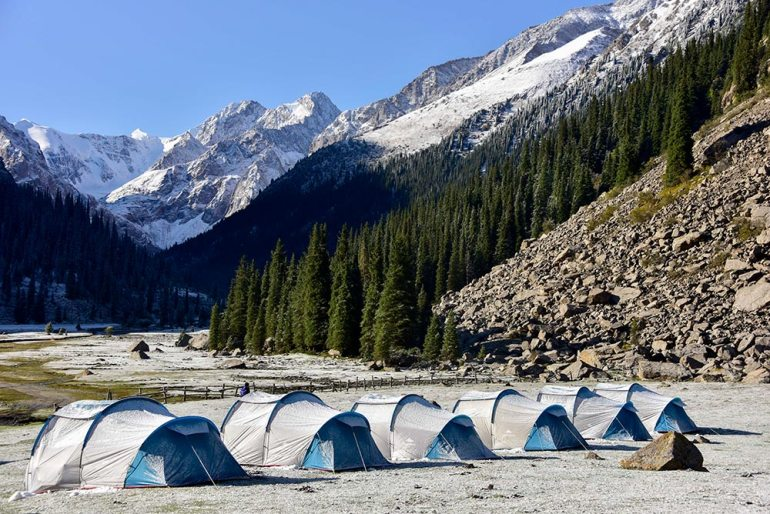 tents near river in Kyrgyzstan