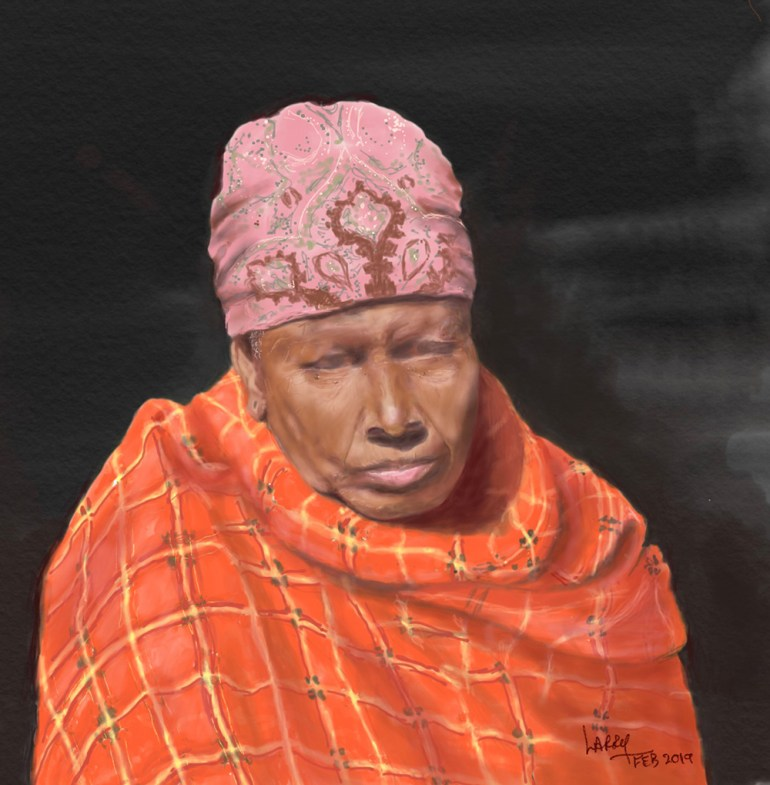 Tanzania artwork safari sketch of woman