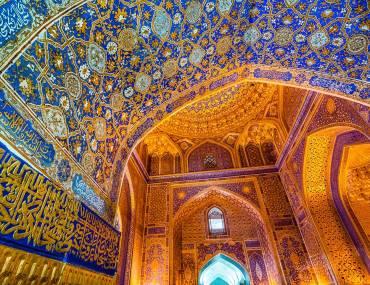 interiro of mosque or temple in central asia