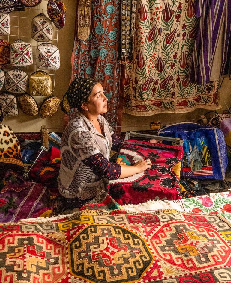 market vendor in central asia