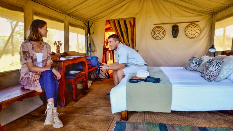 relaxing in a safari tent in the serengeti