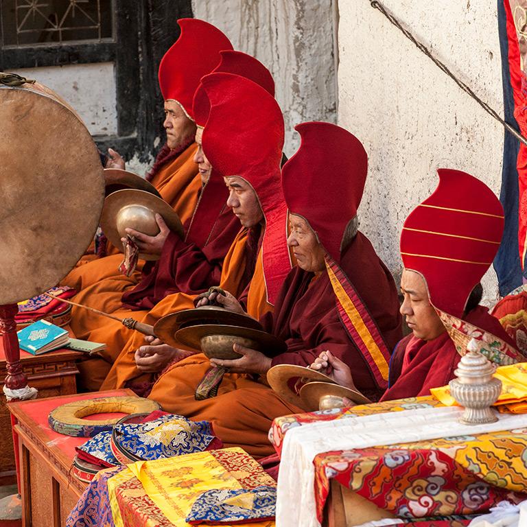 Monks at Tiji Festival in Nepal