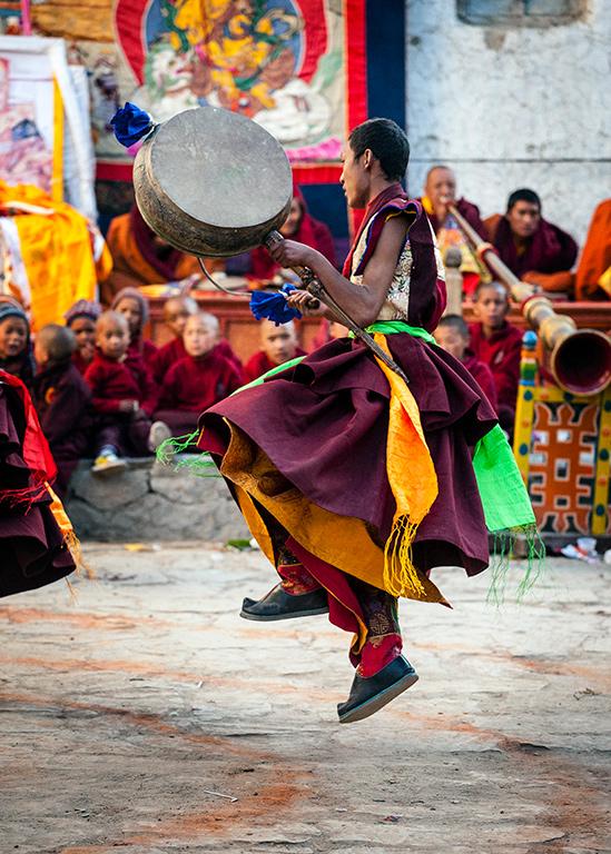 Dancing monk at Tiji Festival in Nepal