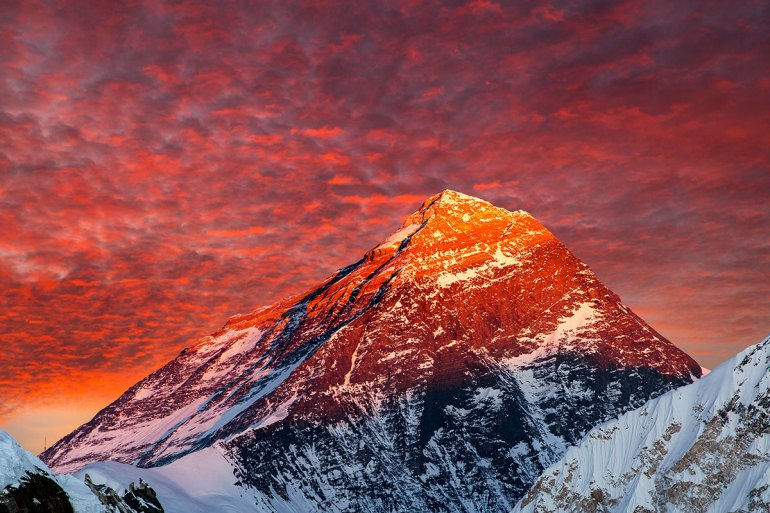 alpenglow over everest mountain