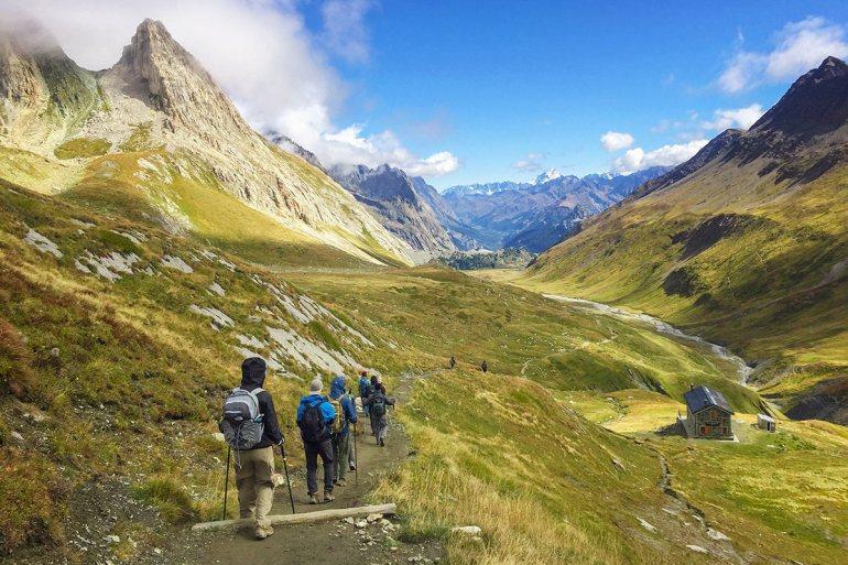Hikers on the Tour du Mont Blanc