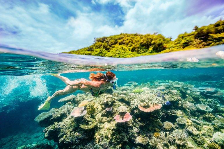 snorkeler in vanuatu