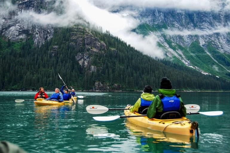 alaska inside passage kayakers in cove