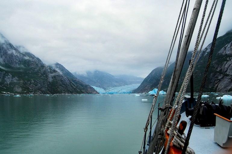 alaska inside passage ship near glacier