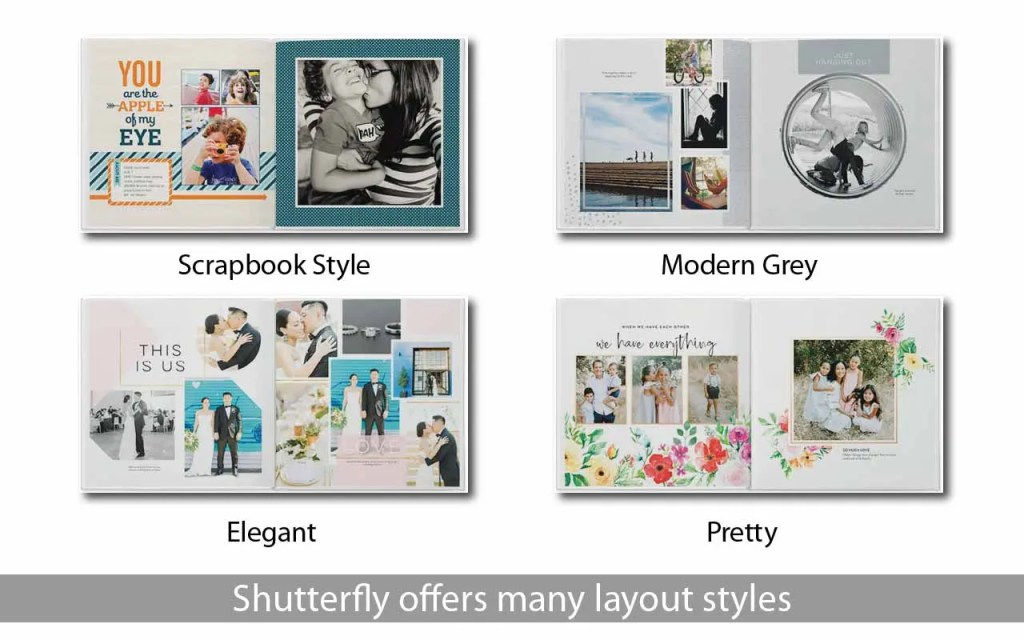 Shutterfly offers many beautiful layout options. It's easy to make your own photo book at home.