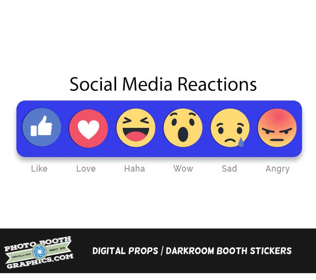 Social Media Reactions Digital Props Photo Booth Graphics