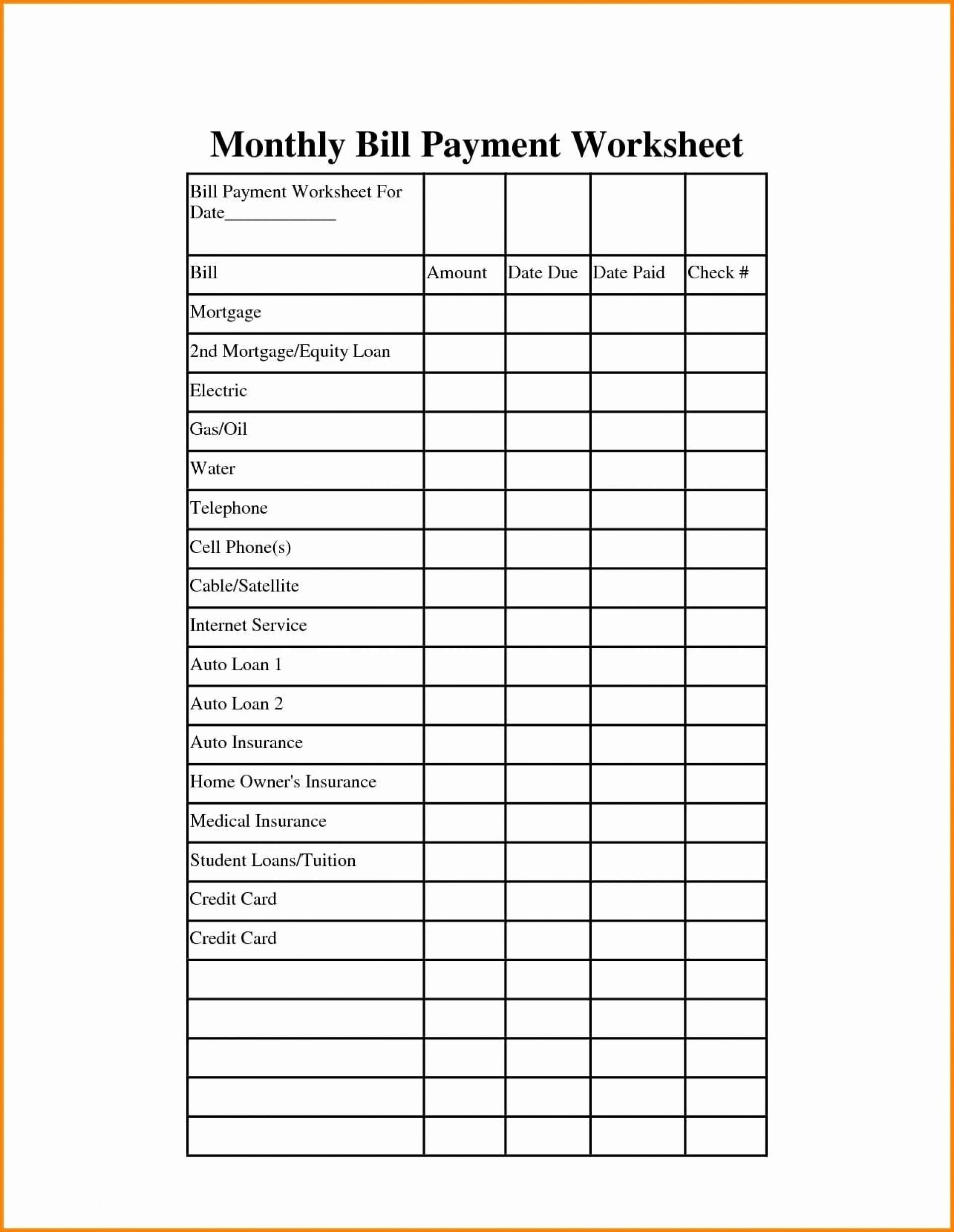 Monthly Bill Paying Worksheet
