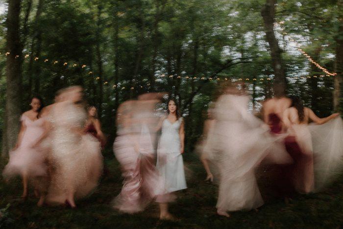blurry guests bride focus