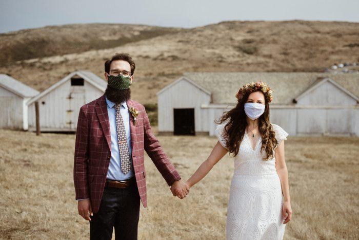 covid mask wedding pic