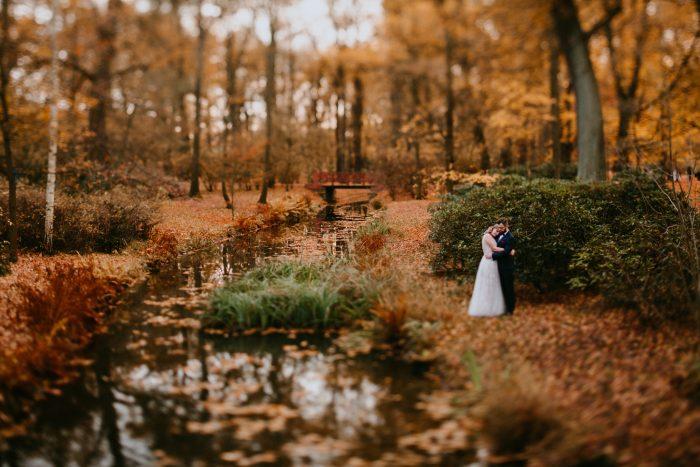 autumn forest wedding portrait