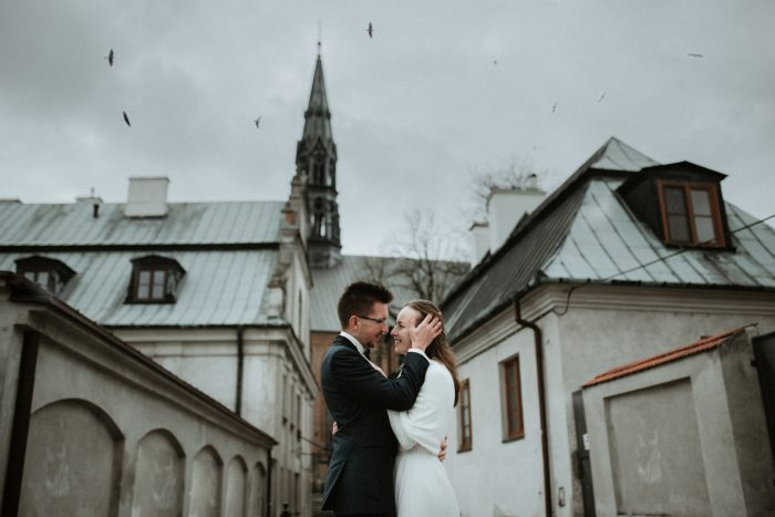 couple on cloudy wedding day