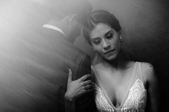 black and white intimate wedding portrait