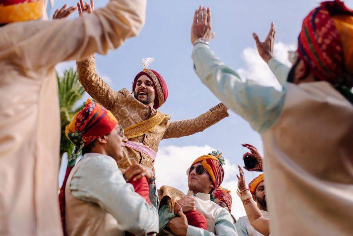 celebratory Indian groom