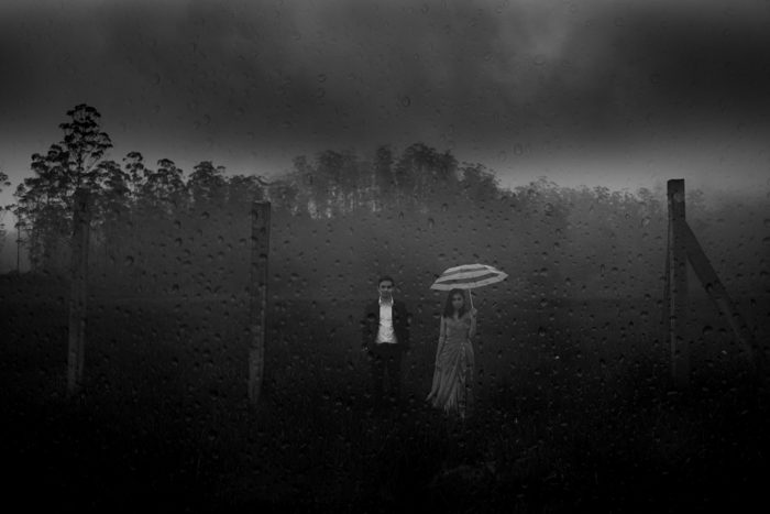 black and white storm wedding