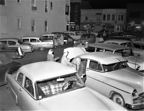 First Thursday stores on Warren St. are open late Hudson 1957 (2)