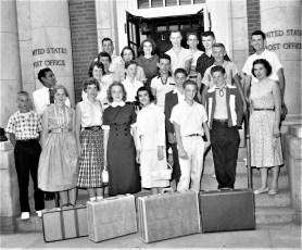 Four H Club members depart for Cornell Hudson 1957