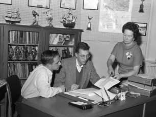Hudson Youth Dept. Calvin Potwin, Super., Dick Marsh, Exec. Dir., Catherine Leggieri, Bookkeeper 1959