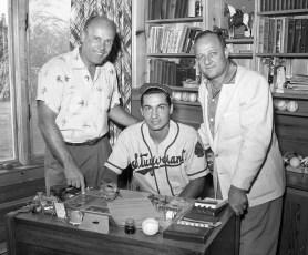 Lou Pierro signing baseball contract with Tony Ravish Hudson 1957