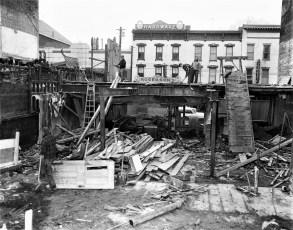 Razing  buildings for new Grand Union Warren St. Hudson 1955 (1)