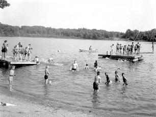Hudson Boys Club swimming at Camp Anderson 1963