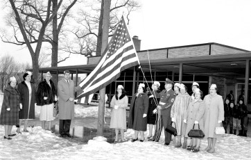 Hudson V.F.W. and  Auxiliary flag dedication at John L. Edwards School 1965 (2)