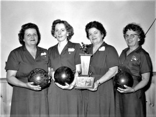 Clermont Ladies Aux. Bowling Team with Trophy 1962