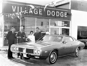 Village Dodge's 100th car sold by Nils Backlund to Mr. & Mrs. Treat Hudson 1973