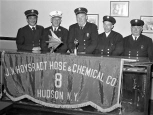 Hoysradt Hose Co. firemen with trophys 1964