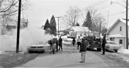 G'town Fire John Hudson's car Main Street Feb. 1965 (2)