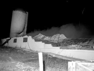 Livingston Fire Stanley Voorhees Cow Barn Rt. 9 Feb. 1965 (2)