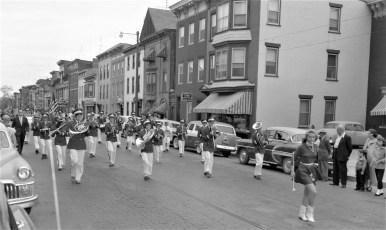 Dawn Couchman leading GCS Band at Hudson Valley Firemens Parade 1957