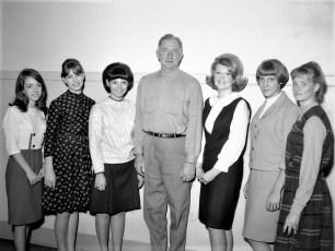 GCS Harvest Queen Contestants with Ed Buckley 1966